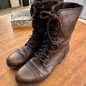 Steve Madden Women's Troopa Combat Leather Boots
